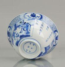 Antique Chinese 18C Kangxi Klapmuts Figures Blue White Dish Rare Chenghu...