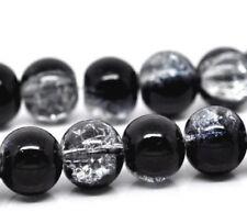 Glasperlen Crackle schwarz klar weiß 10 mm 80 Stück Schmuck Perlen R28+R34