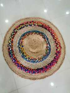 Round Jute Rag Rug Bohemian Living Room Solid Area Carpet With Multi Colour