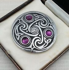 2470975b8 Vintage Style Celtic Knot Silvertone Round Shield Brooch Pin - Amethyst  Purple