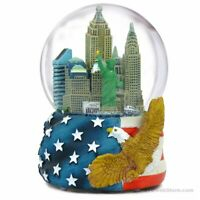 NYC Skyline Patriotic Musical Snow Globe - New York City Souvenir Travel Gift