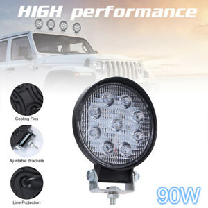 """4"""" LED Work Light 9000LM Square Waterproof Off-Road Suv Boat Truck Lamp 90W"""