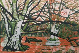 Winter Woodland, Shropshire Original Hand Pressed Linocut Print Ltd Edition