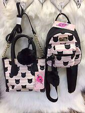 NEW! Betsey Johnson Pink Black Cat Satchel Crossbody Bag & Mini Backpack SET