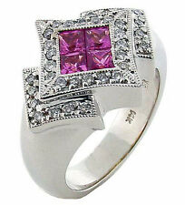 Pave Diamond & Pink Sapphire Invisible Set Princess Cut 1.30 Carat TCW Ring