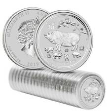 Sealed Roll of 20 x 2019 P Australia Silver Lunar Year of the Pig 1 oz $1