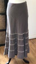 Laura Ashley Mink Grey Lilac Needle Cord / Corduory Long Fishtail Skirt UK 8