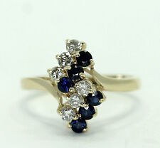 Natural Diamond Lab Created Sapphire 14k Yellow Gold Ring Size 6.25