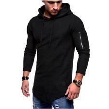Muscle Mens Zipper Long Sleeve Casual Tops Shirt Slim Fit Hooded T-shirt Hoddies