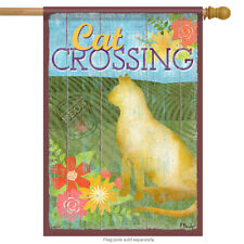 """Cat Crossing Kitty House Flag Kitten Decorative Floral 2 Sided Pet 28"""" x 40"""""""