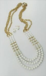 Summer White Beaded Necklace Set Gold Plated Multi Strand Jewelry Set 30 Inch