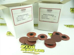 """200PC NEW ASST PREFERRED ABRASIVES QUICK-LOCK DISCS 2"""" TYPE P A/O 36 & 80 GRIT"""