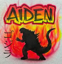 Airbrush T Shirt, Japanese Monster Godzilla with Name