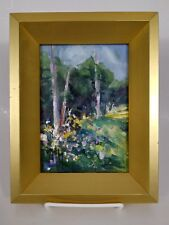 """Kathryn A. McMahon Impressionist Oil on Canvas Panel 5"""" x 7"""" Spring in Colorado"""
