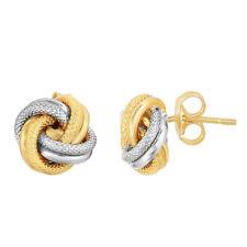 Italian Textured Love Knot Rosetta Stud Earrings Real 10K Yellow White Gold