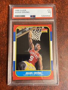 Julius Erving 1986 Fleer PSA 7 Dr J 76'ers HOF