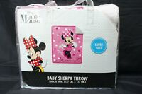 "Disney Minnie Mouse Sherpa Throw Blanket 50""x60"""