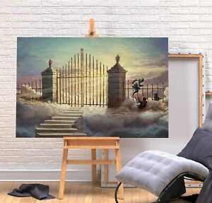 BANKSY GHETTO HEAVEN KIDS 20X30 INCH FRAMED CANVAS ART WALL HANGING COVERING
