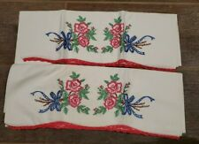 vintage embroidered pillowcases. floral theme