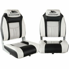 Seamanship Folding Swivel Boat Seats, Grey & Black - Set of 2