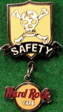 """Hard Rock Cafe STAFF 2001 """"SAFETY"""" Skull & Crossbones PIN Dangler #15684 LE 500!"""