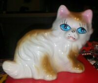 "Cat-Kitten Figurine Brown-White w-Fluffy-Ceramic-Porcelain-Blue Eyes-5""x4""x3"""