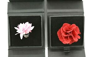 Nordstrom Mens Shop Lot Of 2 Red & Pink Flower Lapel Pin Display Box 1.25 Inches
