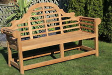 Luxury Lutyen style teak garden bench - 3 seater
