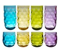 Acrylic Plastic 14 & 23 oz Drinking Glass Tumbler Set of 8 in 4 Assorted Colors
