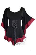 Gothic Treasure Kimono Sleeve Corset Top Black Burgundy Red Plus Size 2X