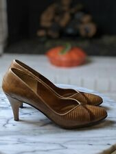 Genuine Reptile Heels Jon Richard Size 7 1/2 (4Aaaa) Brown Tan Vintage