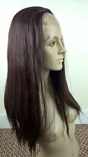 dark brown straight 3/4 half head half cap long hair wig fancy dress party