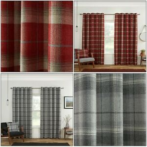 Blackout Highland Carnoustie Tartan Check Lined Eyelet Ring Top Curtains Pair