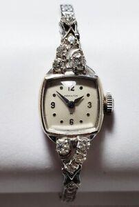 Vintage 14k White Gold Diamond Mid Century Hamilton Cocktail Ladies Wrist Watch