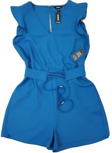Express ~Woman Size XS~ Blue Jumpsuit Shorts  Sleeveless Tie Know Details NWT$59