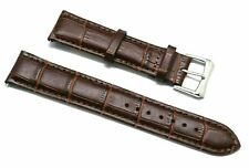 20mm Brown Alligator Grain Leather Replacement Watch Strap - Timex 20 & Others