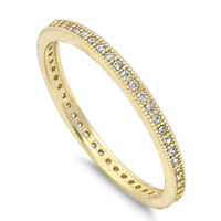Sterling Silver 925 STACKABLE ETERNITY YELLOW GOLD CLEAR CZ RING 2MM SIZES 4-10