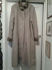 DANNIMAC Royale Collection taupe coat with brown faux fur collar cuffs size L