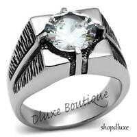 MEN'S 3.85 CT ROUND CUT CUBIC ZIRCONIA SILVER STAINLESS STEEL RING SIZE 8-13