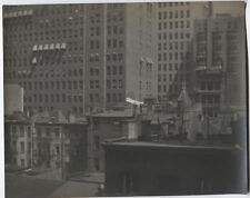 VINTAGE PHOTO PICTORIALIST ROOFTOP CITY SCAPE WITH LAUNDRY IN THE BREEZE.