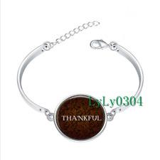 THANKFUL - Thanksgiving  glass cabochon Tibet silver bangle bracelets wholesale