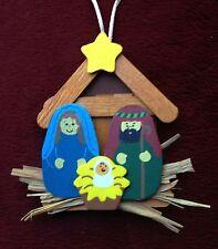 Nativity Christmas Ornament Craft Kit,wood/straw, 2+ ITEMS SHIP FREE!