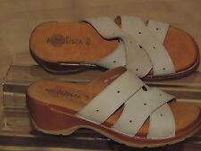 Modellista Women's 11 Buff Beige Leather Cross Strap OT Slide Sandals NEW Italy