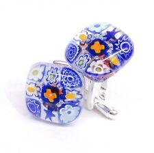 Blue Square Murano Glass Millefiori Flower & Silver Cufflinks.