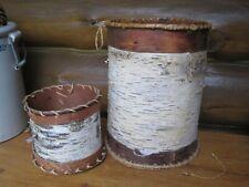 Two OJIBWE Vintage BIRCH BARK Hand Crafted BASKETS Minnesota Native American
