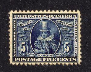 U.S. STAMP  #330 --- 5c JAMESTOWN EXPOSITION -- 1907 — NH, REGUM