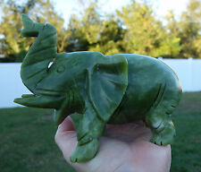 Green JADE ELEPHANT Hand Carved Crystal Display for Good Luck & Prosperity