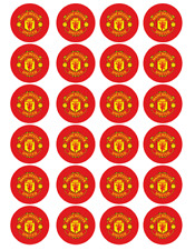24 x Large Manchester United Edible Cupcake Toppers Birthday Party Decoration