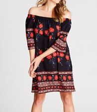 Crossroads off The Shoulder Black & Red Floral Dress Size 20 Post Aus