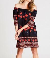 Crossroads Off The Shoulder Black & Red Floral Dress Size 20 Free Post Aus